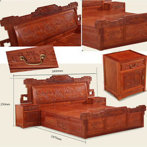 Ming Dy Style rosewood solid wood furniture King Size Bed and Beside table #A8
