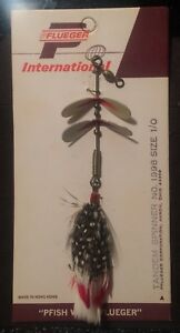 Vintage Fishing Lure Pflueger Tandem Spinner No.1998 Size 10 Rare Lure