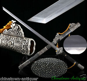 Tang Sword Feather grain pattern steel blade Genuine Ray skin Scabbard #3745