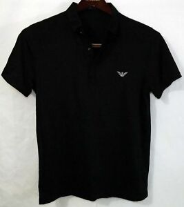 Mens NWOT Designer Emporio Armani M Large Polo Shirt Black Gray Logo Stripes