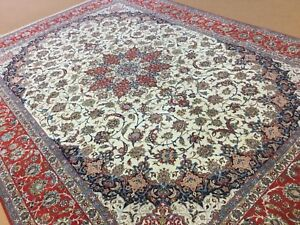 10' x 14' Persian Isfahan Excellent Quality Hand Knotted Wool & Silk Red Signed