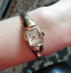 Vintage Bulova Watch Gold tone bracelet cuff bangle mechanical wind up 10k GF