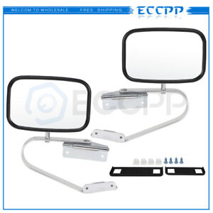 Chrome Steel For 1980 96 Ford Bronco Pickup Truck Pair View Manual Mirrors $43.99