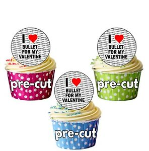 I Love Bullet For My Valentine - 24 Edible Cupcake Toppers Cake Precut Circles