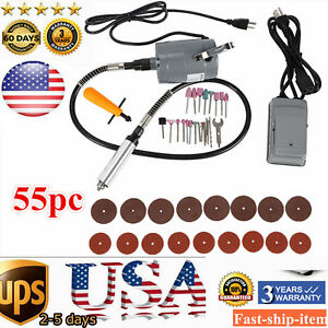 55pc Electric Flexible Shaft Die Grinder Rotary Tool Variable Speed Foot Pedal