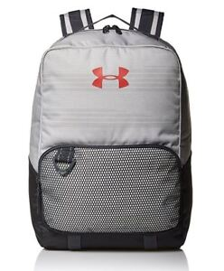Under Armour Select Youth Backpack Gray White Red Boy's School Book Bag 1308765