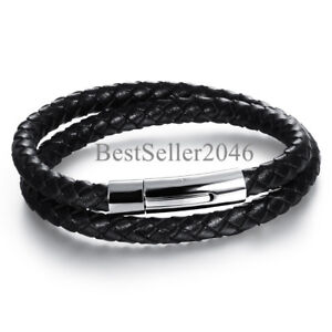Men Black Braided Leather Bracelet Bangle with Stainless Steel Magnetic Clasp 8 $8.99