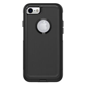 iPhone 7 iPhone 8 BLACK case w Screen Protector (fits otterbox commuter holster