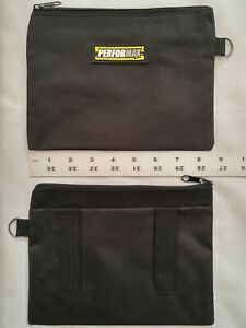 SMALL ZIPPER BAG TOOL CASE STORAGE POUCH BLACK CANVAS TOTE BELT LOOPS ZIP KIT