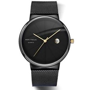 Gold Black Waterproof Male Quartz Bracelet Metal Steel Wristwatches For Men New