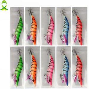 Sea Fishing Artificial Plastic Hard Jig Lure Bait Wood Shrimp Squid Fishing Hook
