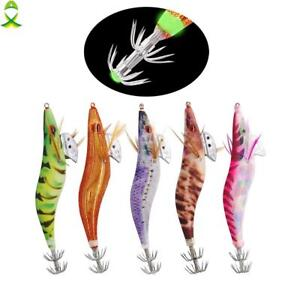 Sea Luminous Artificial Wood Shrimp Squid Hook Cuttlefish Bait Jig Fishing Lures