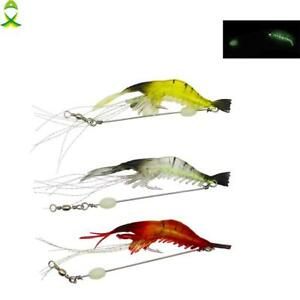 Soft Silicone Luminous Shrimp Fishing Lure Artificial Bait With Swivel Baits