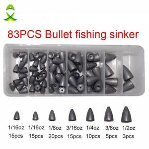 Lead Fishing Sinker For Plastic Worm Texas Rig Carp Fishing Bullet Shaped Weight