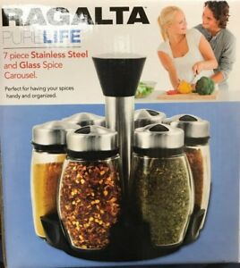 Ragalta USA RSR 010 7 Pieces Glass and Stainless Spice Carousel