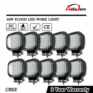 10x 48W Square LED WORK LIGHT CREE Offroad JEEP 4X4 truck Boat SUV 4WD 12V 24V