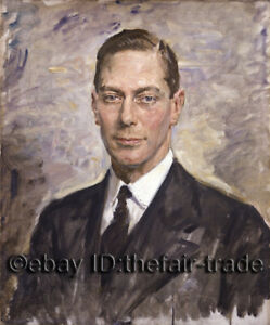 Portrait of King George VI In Suit Duplicate Royal Art Oil Painting Hand Painted