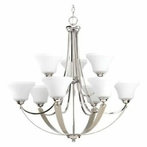 PROGRESS LIGHTING P400013 104 Noma Nine Light Chandelier,Nickel