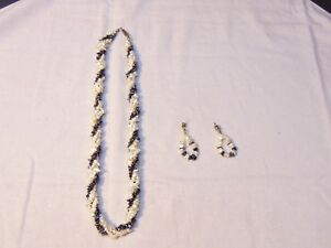 Necklace Matching Earring Set 17 Black & White