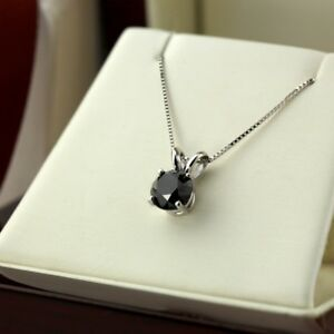 1 CT Round Cut Black Diamond 14k White Gold FN Solitaire Pendant Necklace