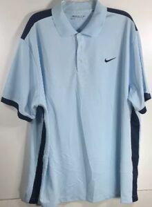 NIKE GOLF DRI FIT Men's Blue POLO GOLF SHIRT Polyester Spandex XXLtall