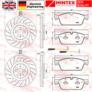 FOR MERCEDES GLE43 AMG FRONT DRILLED MINTEX BRAKE DISCS PADS WIRE SENSORS 375mm