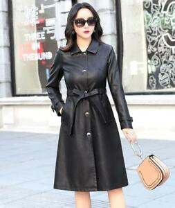 Fashion Womens Trench Coat Leather Long Jacket Solid Lapel Fat Ladies Large Size