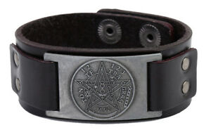 Pagan Hermetic Tetragrammaton Pentagram Amulet Wide Leather Bracelet for Men