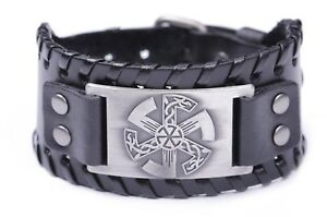 Slavic Amulet Sun Kolovrat Paganism Metal Charm Wide Leather Bracelet for Men