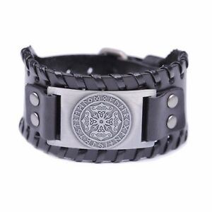 Thor#x27;s Hammer Runes Celtic Knot Trinity Design Wide Leather Bracelet for Men