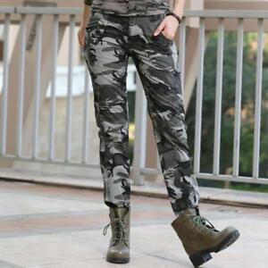 Women's Plus Size Casual Pants Summer Jogger Military Camouflage Slim Fit Cotton