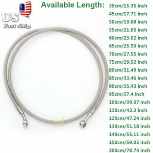 Universal 39-200cm Motorcycle Brake Hose Oil Pipe Line Braided Fitting US Stock