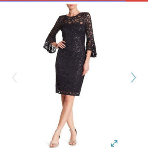 NEW Charcoal Black Sequin Womens 10 Marina Short Bell Sleeve Sheath Dress $45