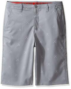 UNDER ARMOUR Boys Match Play Printed Golf Shorts Gray Steel 1290351-035 YOUTH 10