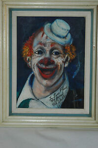 RARE Early Original Red Skelton Clown painting with Stunning Provenance 12 x 16