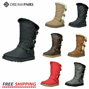 DREAM PAIRS Kids Girls Toddler Faux Fur Lined Mid Calf Fashion Winter Snow Boots $13.99