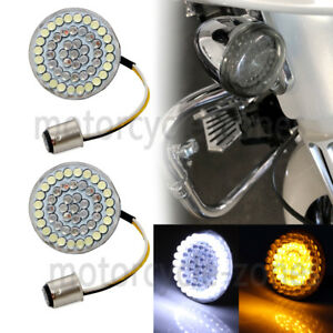 USA Bullet-style 1157 Front Rear LED Turn Signal Inserts White/Amber For Harley
