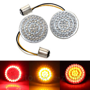 2x Red/Amber Bullet-style 1157 LED Turn Signal  Insert Lights For Harley Touring