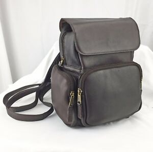 Women's Leather Backpack Handbag Clava Dark Brown Mid-Size 11 x 9.5 Multi Pocket
