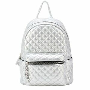 Dream Control Quilted Textured Vegan Leather Mid Size Backpack Handbag Silver