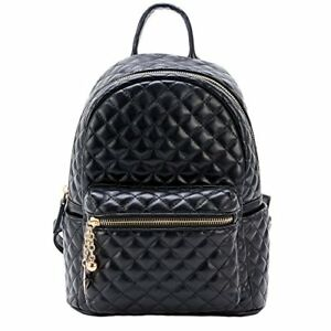 Dream Control Quilted Textured Vegan Leather Mid Size Backpack Handbag Black