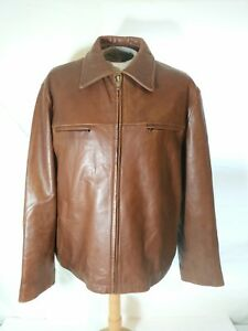 GUESS Leather Racer Jacket Tan Brown Zip Front Lined Motorcycle Coat Men XL