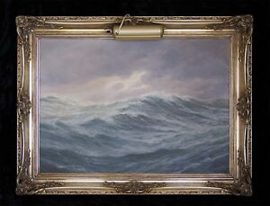 ADOLF BOCK Original Oil Painting on Canvas 'THE ANGRY SEA' Signed
