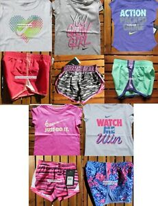 NIKE GIRLS 3T ~ 10pc SUMMER RUNNING SHORTS  T-SHIRTS ~ DRI-FIT ~ NWT ~$226