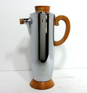 VTG 1930s Art Deco Danish Chrome Cocktail Shaker Pitcher Manning Bowman Co USA