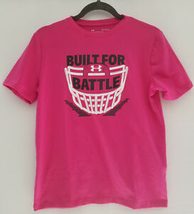 Under Armour Boys Built for Battle Football Pink Breast Cance Awareness T-Shirt