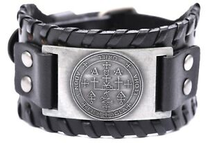 Solomon The Sigil of Archangel Uriel Talisman Wide Leather Bracelet for Men