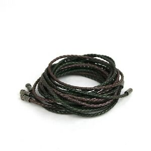 Bottega Veneta Women's BrownGreen Leather Braided 3 String Bracelet 145172 3430