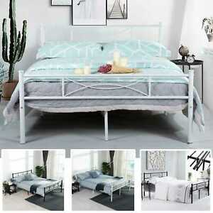 Queen Size Metal Bed Frame Bedroom Mattress Platform Foundation with Headboard