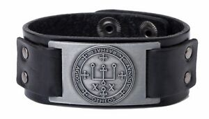 Talisman Amulet Solomon Key Sigil of Archangel Raphael Leather Bracelet for Men